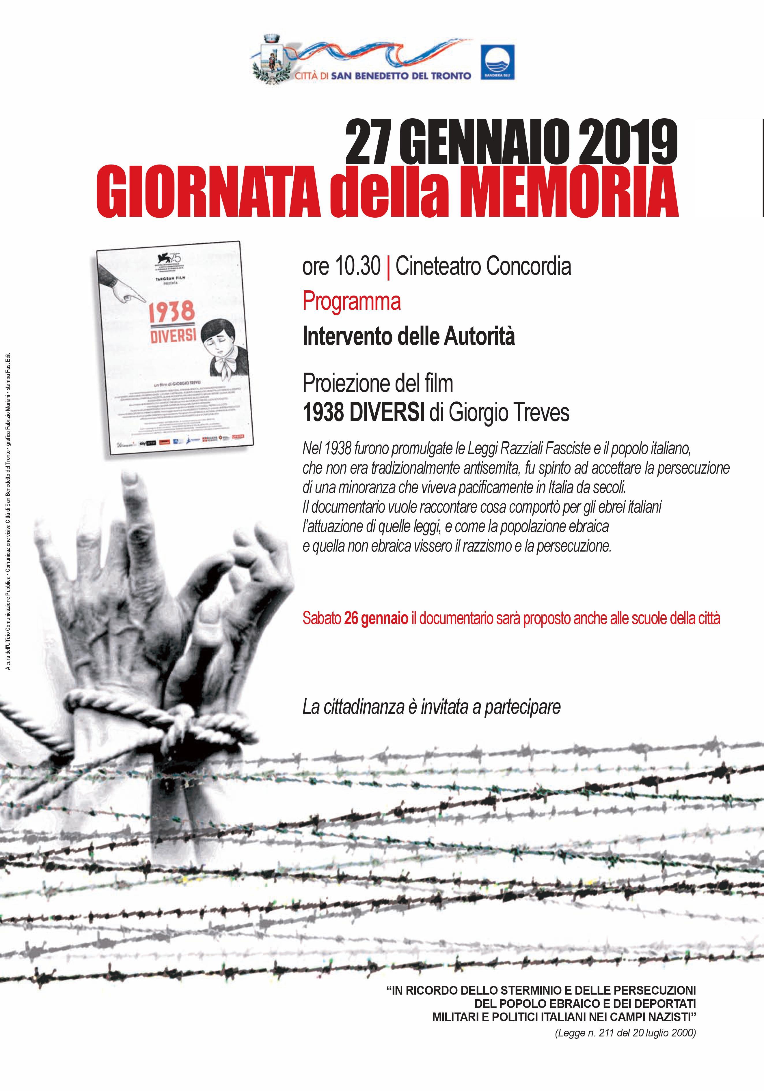 """Giornata della memoria, al Concordia il documentario """"1938 - Diversi"""""""