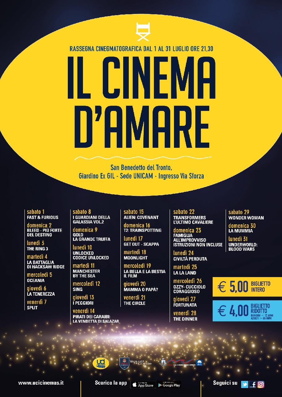 CINEMA D'AMARE - PROGRAMMAZIONE LUGLIO