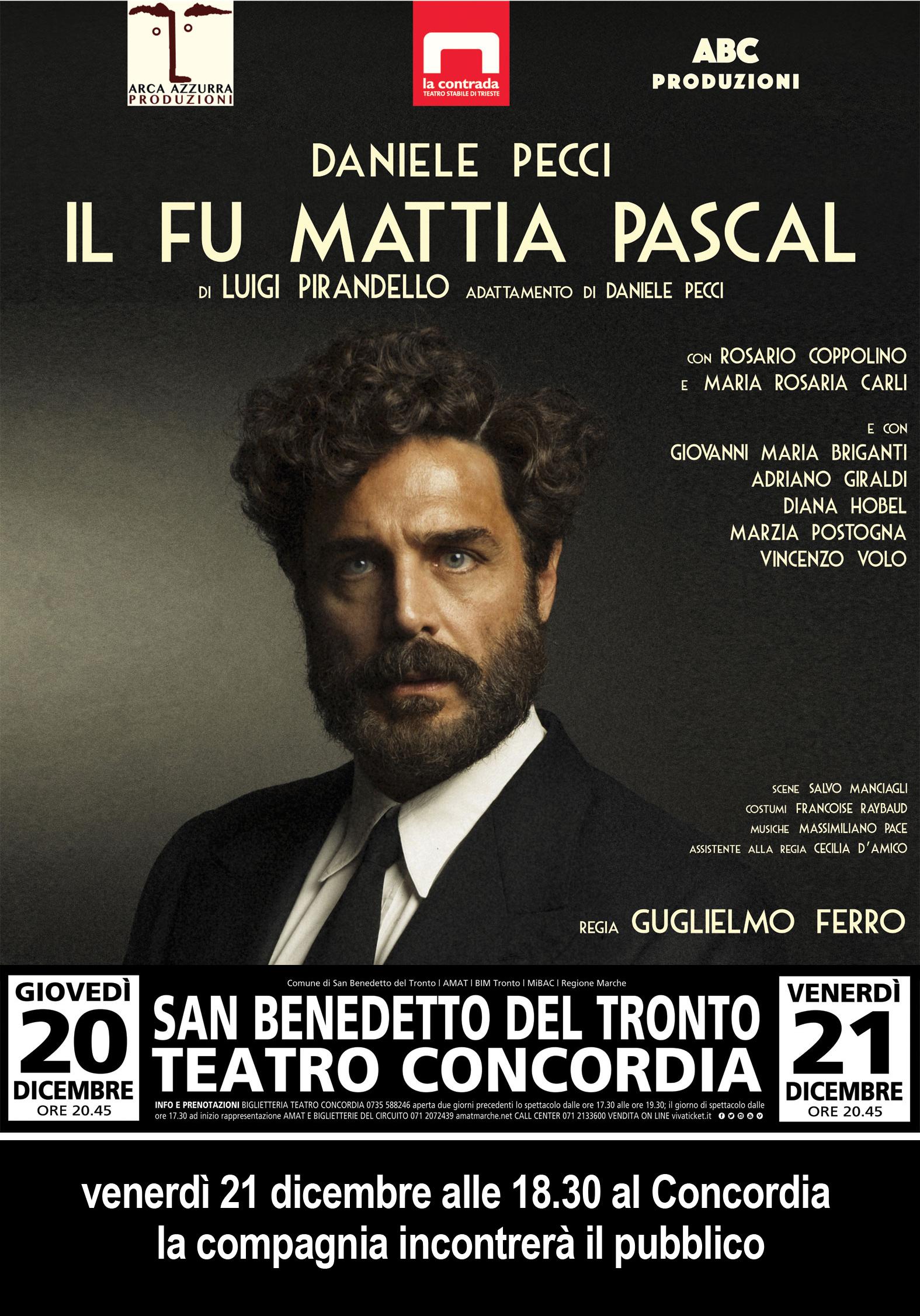 Incontri con il teatro, venerdì 21 dicembre Daniele Pecci dialoga con il pubblico