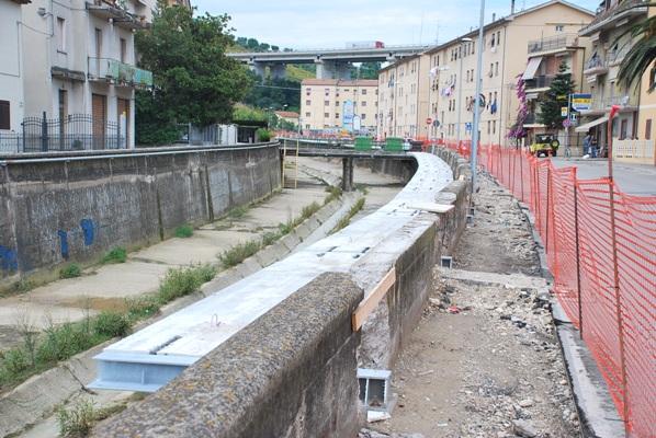 I lavori in corso sul torrente Albula
