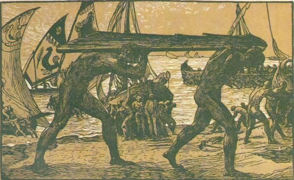 Il timone - 1904/05, xilografia a 2 legni, foto Tomei De Angelis