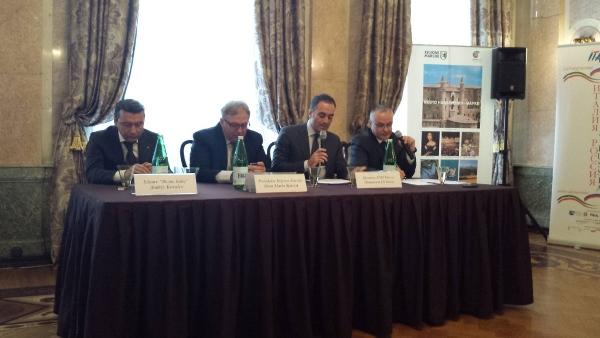 Uno scatto della conferenza stampa a Mosca