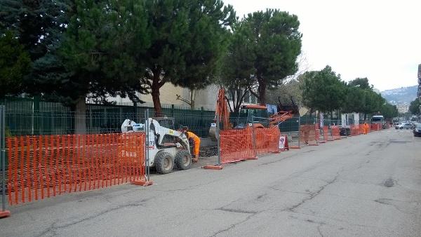 Il cantiere allestito in via Ferri