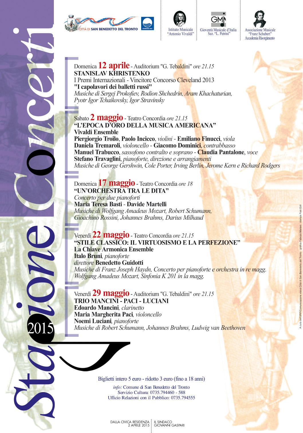 Il manifesto della Stagione Concerti 2015
