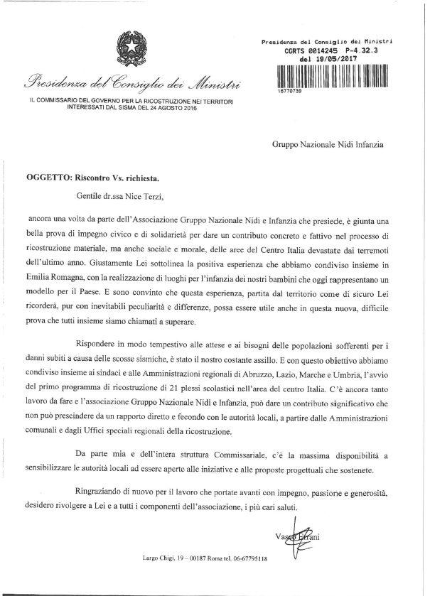 Il messaggio del commissario Vasco Errani