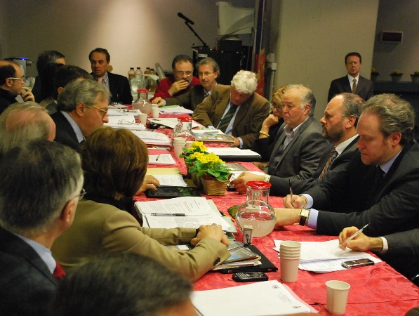 Gli assessori regionali e comunali, il Presidente Spacca e il Sindaco Gaspari al lavoro