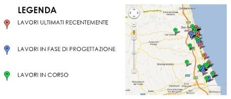 La mappa dei lavori in città
