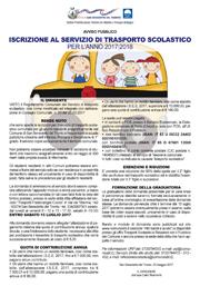 Iscrizioni al servizio di Trasporto scolastico 2017/2018