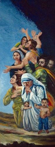 Una delle illustrazioni esposte al cimitero comunale, opera di Silvano Pizza