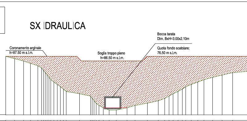 """La vista in sezione del manufatto: si nota la """"bocca tarata"""" nella quale scorre normalmente il torrente in periodo di """"magra"""""""