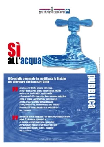 Il manifesto a sostegno dell'acqua pubblica
