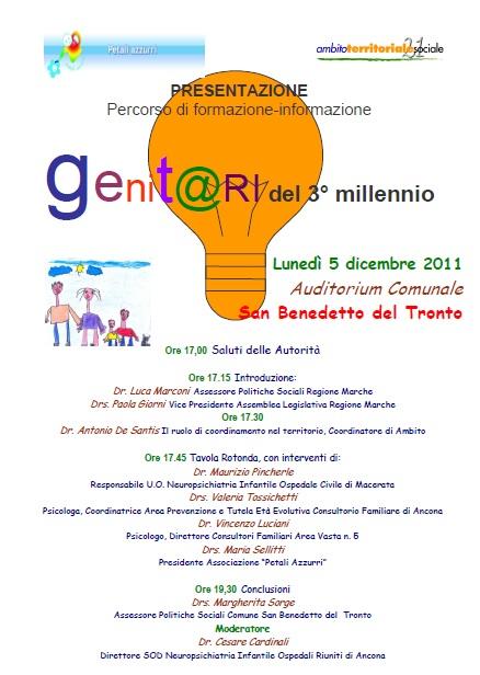 """Presentazione Percorso di formazione-informazione """"Genit@ri del 3° millennio"""""""